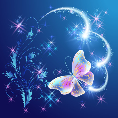 fab: Magic  butterfly with  floral ornament and glowing firework