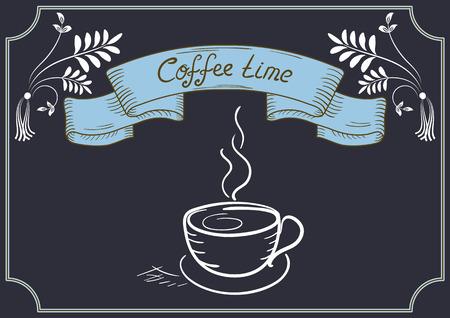 letrero: Diseño letrero de cafetería o restaurante con la taza de café, Ornamento de la esquina, y el titular de la cinta en el estilo de dibujo de la mano y la escritura a mano Vectores