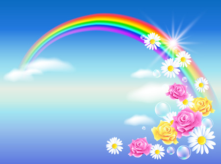 rainbow sky: Rainbow in sky clouds with roses and diasy Illustration