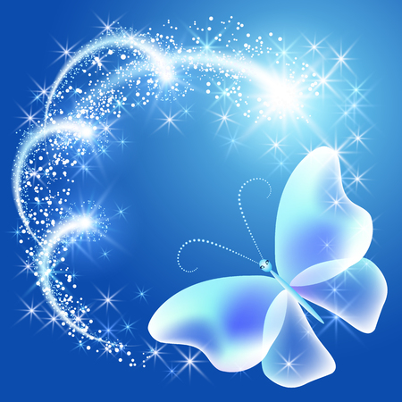Butterfly with glowing firework and sparkle stars