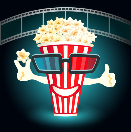 cinematograph: 3d glasses put on a box with popcorn, who smiles Illustration