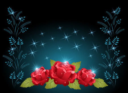 dewdrops: Holiday card with roses, ornament and glowing stars