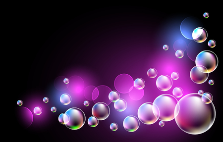 shimmering: Glowing background with bubbles corner ornament