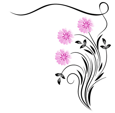 floral corner: Decorative floral corner ornament with daisy on white background Illustration