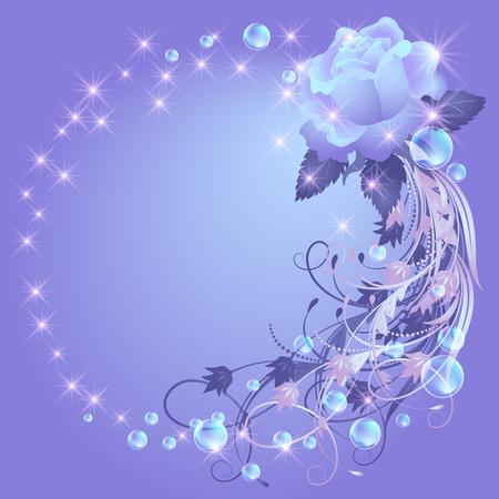 Fondo brillante con rosa, estrellas y burbujas