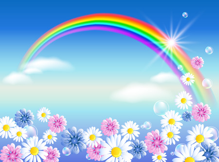 fab: Rainbow in sky clouds with meadow flowers