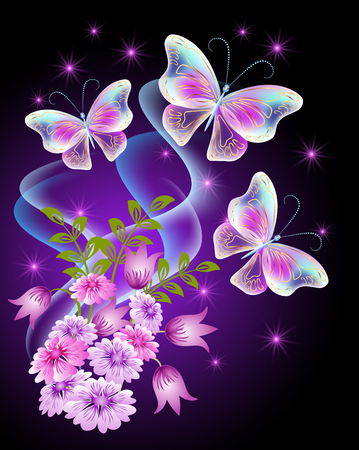 Transparent butterflies with flowers and shiny stars. Greeting card.