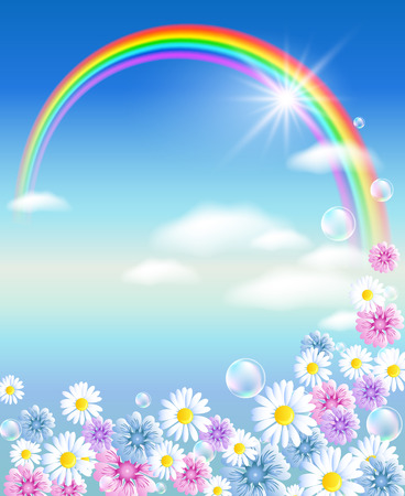 afternoon: Rainbow in sky clouds with meadow flowers