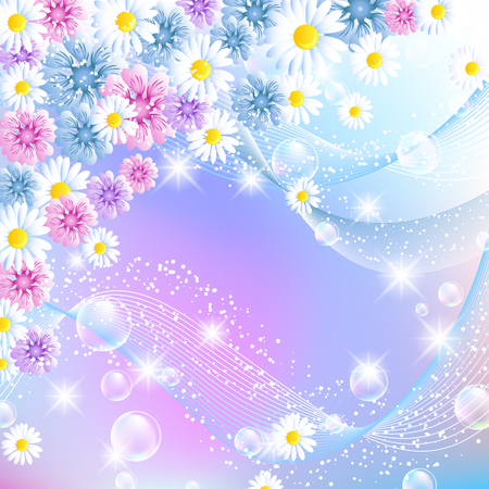 Floral magic background with bubbles and colorful flowers. Greeting card.