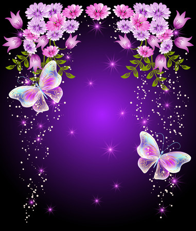 shimmering: Flying butterflies with flowers and glowing stars. Greeting card.