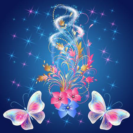 Due farfalle che volano trasparenti, ornamento dei fiori con fuochi d'artificio e saluto incandescente