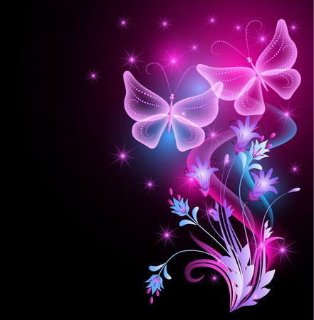 Kwiaty ozdoba, świecące gwiazdy i przejrzyste magiczne motyle