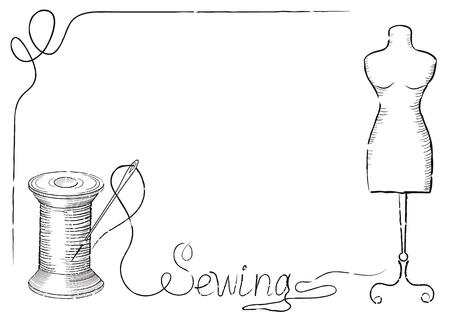 """coser: retro marco decorativo para carteles de publicidad de taller de costura de la moda con dibujado a mano aguja de coser en el carrete de hilo, maniquí y la inscripción """"costura"""". Vectores"""