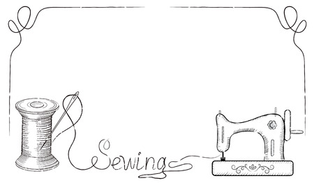 advertising signs: Decorative retro frame for advertising signs of fashion sewing workshop with hand drawn sewing needle in coil, sewing machine and inscription Sewing. Illustration