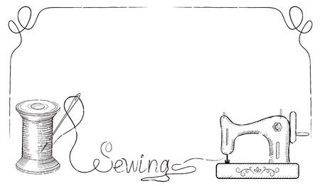 """coser: retro marco decorativo para carteles de publicidad de taller de costura de la moda con dibujado a mano aguja de coser en la bobina, la máquina de coser y la inscripción """"costura""""."""