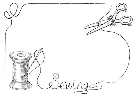 """coser: retro marco decorativo para carteles de publicidad de taller de costura con aguja de coser dibujado a mano en el carrete de hilo, tijeras y la inscripción """"costura""""."""