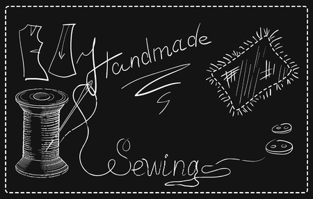 threads: Decorative retro advertising signs of sewing workshop with hand drawn sewing needle in reel of thread, buttons, flap, and inscription Sewing. Illustration