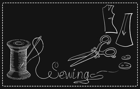 advertising signs: Decorative retro advertising signs of sewing workshop with hand drawn sewing needle in reel of thread, scissors, buttons, and inscription Sewing.