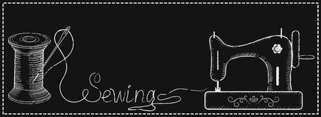 """Decoratief retro frame voor reclameborden van de mode naaiatelier met de hand getekende naaien naald in spoel, naaimachine en inscriptie """"naaien""""."""
