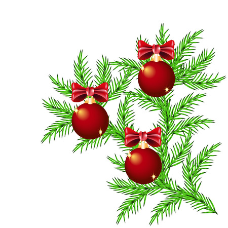 Spruce branch with decorative Christmas balls and bows isolated on white background