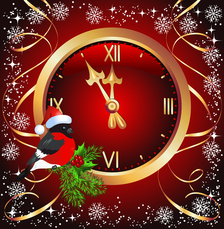 Red Christmas background with golden chimes and bullfinch in Santa Claus hat Illustration
