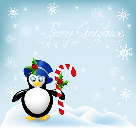 comfit: Penguin in cylinder hat with Christmas striped comfit