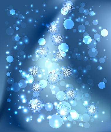 Christmas background with snowflake, glowing stars and boke Illustration