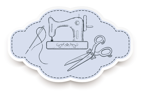 machine made: Decorative retro frame for advertising stickers with  hand drawn sewing machine,  needle, and vintage scissors Illustration