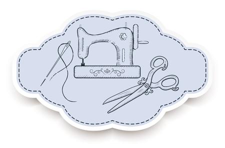 Dekoracyjne ramki retro na naklejki reklamowe z ręcznie rysowane maszyny do szycia, igły i vintage nożyczki