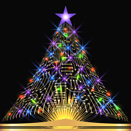 Christmas fir tree from digital electronic circuit with glowing star and sparkle lamps