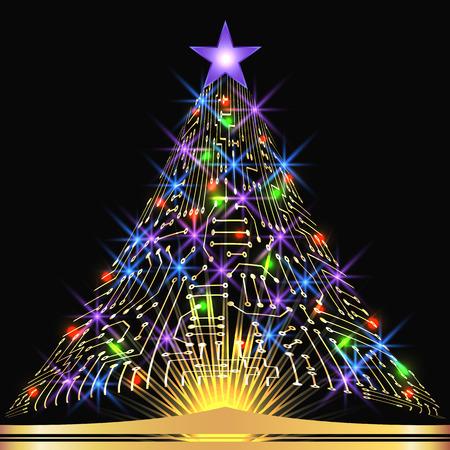 Weihnachten Tanne von digitalen elektronischen Schaltung mit leuchtenden Sterne und Funkeln Lampen