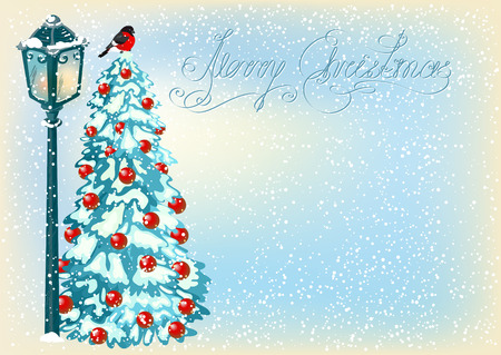 fur trees: Christmas vintage lantern with fur trees and bullfinch on the evening landscape background with snow in retro style