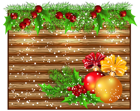 signboard: Christmas glowing wooden signboard with spruce garland and decorative balls Illustration