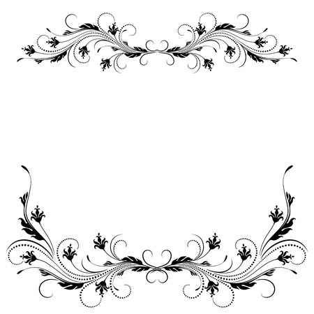 romanticism: Decorative floral ornament in retro style isolated on white background Illustration