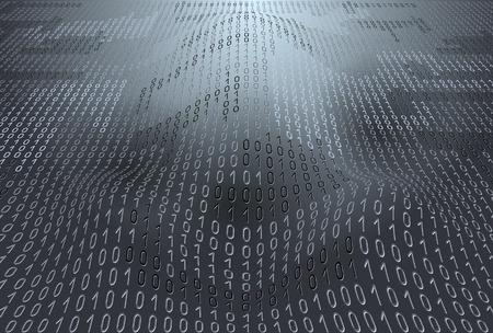 Binary code on gray background Illustration
