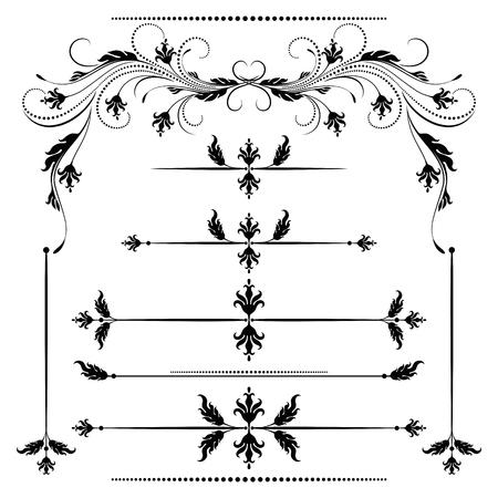 lineas decorativas: ornamento de la vendimia y establecer divisor de decoración para la tarjeta de felicitación, la postal de la invitación o felicitación texto