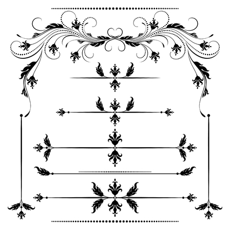 decorative lines: Set vintage ornament and decorative divider for greeting card, invitation postcard or congratulation text