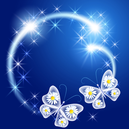 Butterflies with glowing firework and sparkle stars Illustration