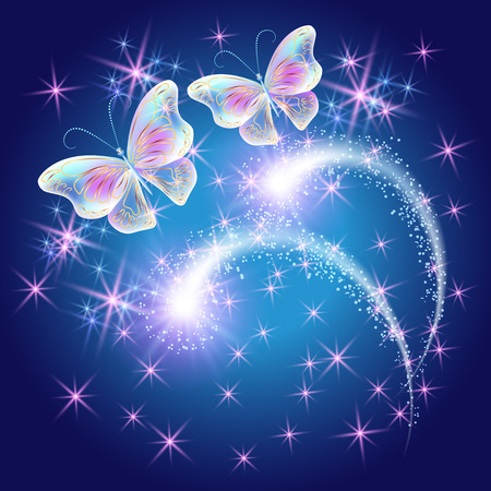 Butterflies with glowing firework and sparkle stars  イラスト・ベクター素材