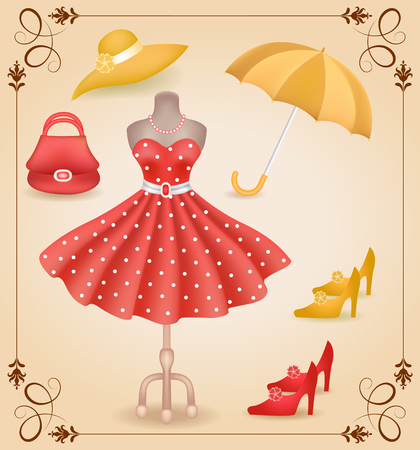 Fashionable dress with polka dots in retro style on dummy and accessories  in shop or salon store on showcase in vintage frame.