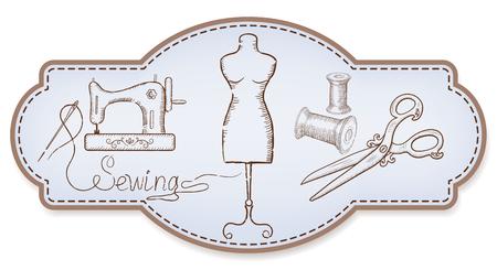 Dekoracyjne ramki retro na naklejki reklamowe lub etykiety warsztatowe z ręcznie rysowane maszyny do szycia, rolka nici, igły, manekina i vintage nożyczki