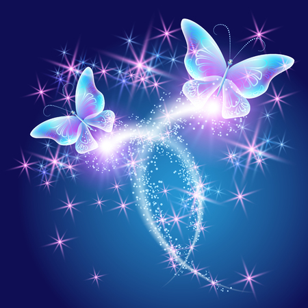 mystical: Butterflies with glowing firework and sparkle stars Illustration