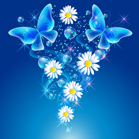 Butterflies with bubbles and daisy in the sky Vectores