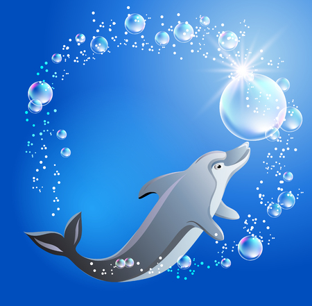 swims: Dolphin swims in the water with air bubbles. Illustration
