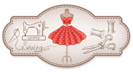 Cadre rétro décoratif pour autocollants publicitaires ou des étiquettes d'atelier avec robe drawn main, machine à coudre, bobine de fil, aiguille, mannequin et ciseaux d'époque Vecteurs