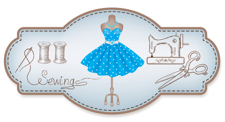 Decorative retro frame for advertising stickers or workshop labels with hand drawn dress, sewing machine, reel of thread, needle, dummy and vintage scissors