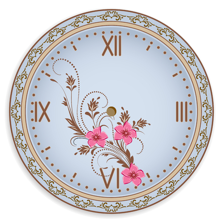 Clock face with vintage ornament and flowers for decoupage card