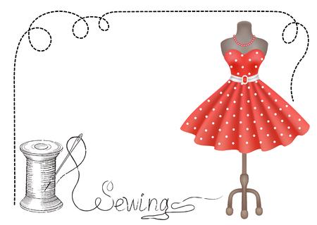 Dekorative Retro-Rahmen für Werbe-Aufkleber oder Workshop-Etiketten mit Hand gezeichnetes Kleid, Rolle von Faden und Nadel