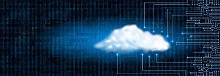 Dibujo circuito electrónico moderno con el concepto de la nube digital y el código binario. concepto de almacenamiento de datos para el sistema de la electrónica. Ilustración de vector