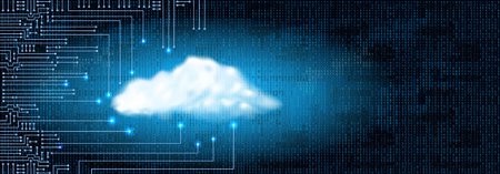 Rysunek nowoczesny obwód elektroniczny z chmury koncepcji cyfrowej i kod binarny. Koncepcja przechowywania danych dla systemu elektronicznego.